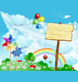 spring landscape with wooden sign vector image vector image