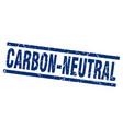 square grunge blue carbon-neutral stamp vector image vector image