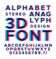 Stereoscopic stereo 3d letters and numbers vector