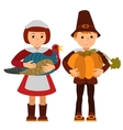 Thanksgiving day children apples and turkey vector image