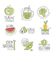 Vegan 100 Percent Natural Products Promo Labels vector image vector image