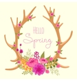 Vintage card with deer antlers and flowers vector image vector image