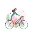 woman riding bicycle son summer day in park vector image
