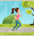 young girl running in the park flat vector image