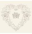 Heart of red rose isolated on beige vector image