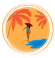 round retro poster with palm trees sea girl and vector image
