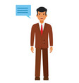standing businessman with speech cartoon flat vector image