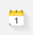 1 september calendar icon vector image