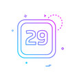29 date calender icon design vector image vector image