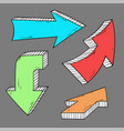 arrows hand drawn colored doodle on gray vector image