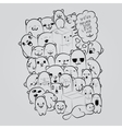 Big composition of doodle cats for yours cards vector image