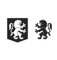 black heraldic rampant lion vector image vector image