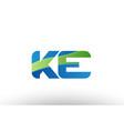 blue green ke k e alphabet letter logo vector image vector image