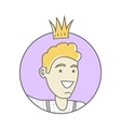 Boy in Crown Avatar Userpic Isolated on White vector image vector image