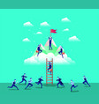 business people in mountains with flag with stair vector image