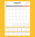 calendar template for 2017 year week starts vector image
