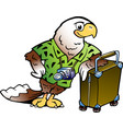 cartoon a traveling tourist eagle bird vector image vector image