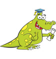Cartoon dinosaur holding a diploma vector image vector image