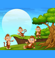 cartoon monkeys playing near the cliff vector image vector image