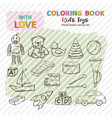 coloring book kids toys set hand drawn in doodle vector image vector image