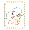 coloring book of cute white animal sheep vector image