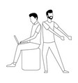 coworkers teamwork cartoon in black and white vector image vector image