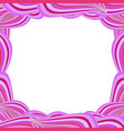 cute vibrant border with pink curly lines and vector image