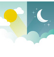 day and night layout sun moon stars and clouds vector image vector image