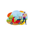 delivery service order shipping man and scooter vector image vector image