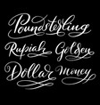 dollar money hand written typography vector image vector image