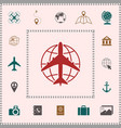 earth and airplane logo elements for your design vector image vector image