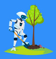 eco robot plants a green tree isolated vector image vector image