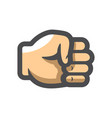 fist hand fingers icon cartoon vector image