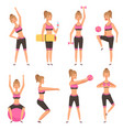 fitness girl female sport character in various vector image