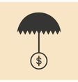 Flat in black white umbrella and dollar vector image vector image