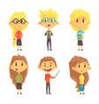 flat set of funny school children kids vector image vector image