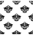 Floral motifs in a repeat seamless damask pattern vector image vector image