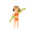 girl in swimsuit holding towel summer vector image vector image