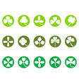 green clover round button icons set vector image vector image