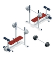 Gym adjustable weight bench with barbell isolated vector image