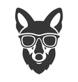 Hipster Red Fox Face in Glasses vector image vector image