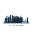 ho chi minh city skyline monochrome silhouette vector image vector image