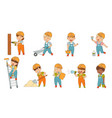 little builders wearing hard hat and overall vector image vector image