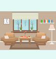 living room interior including furniture winter vector image vector image
