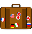 luggage with badges vector image vector image