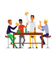 male friends drinking beer - isolated cartoon men vector image