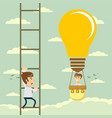 man in lightbulb fly pass businessman climbing the vector image vector image