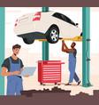 mechanic in blue overalls repair broken car hang vector image