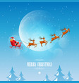 merry christmas santa claus on sleigh reindeer vector image