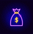 money bag neon sign vector image vector image